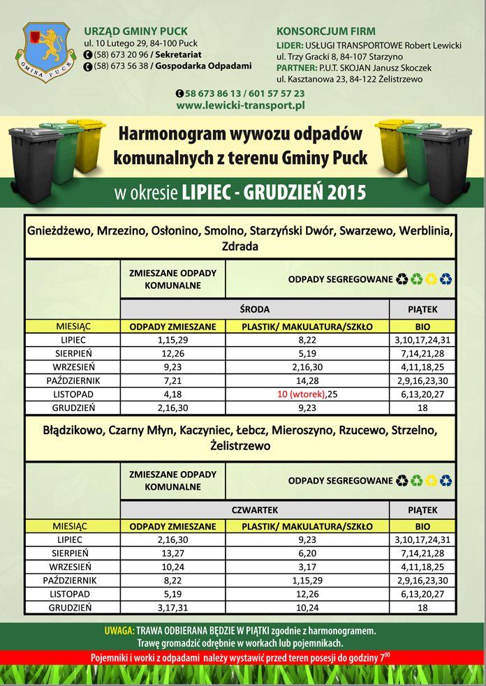Harmonogram lipiec-grudzień 2015-2
