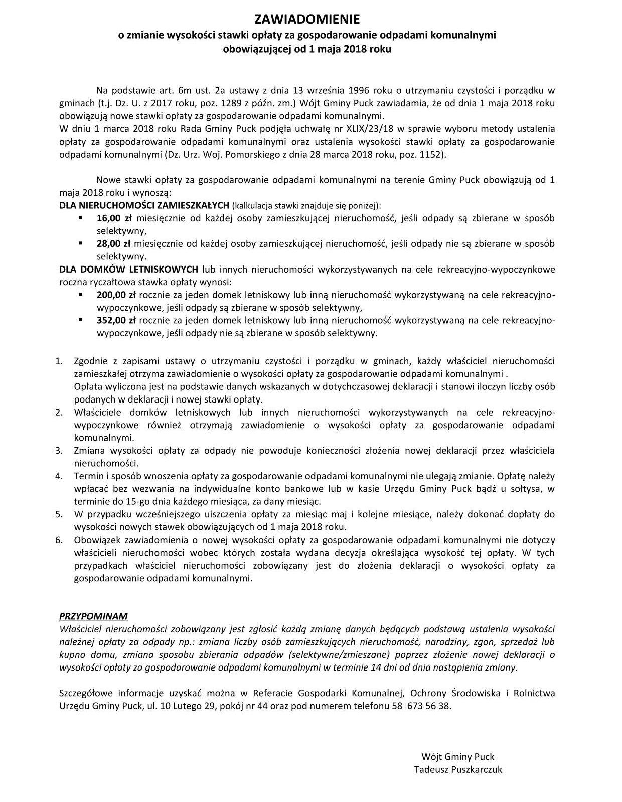 ZAWIADOMIENIE o zmianie stawek opłaty za odpady od 1 maja 2018 roku_01