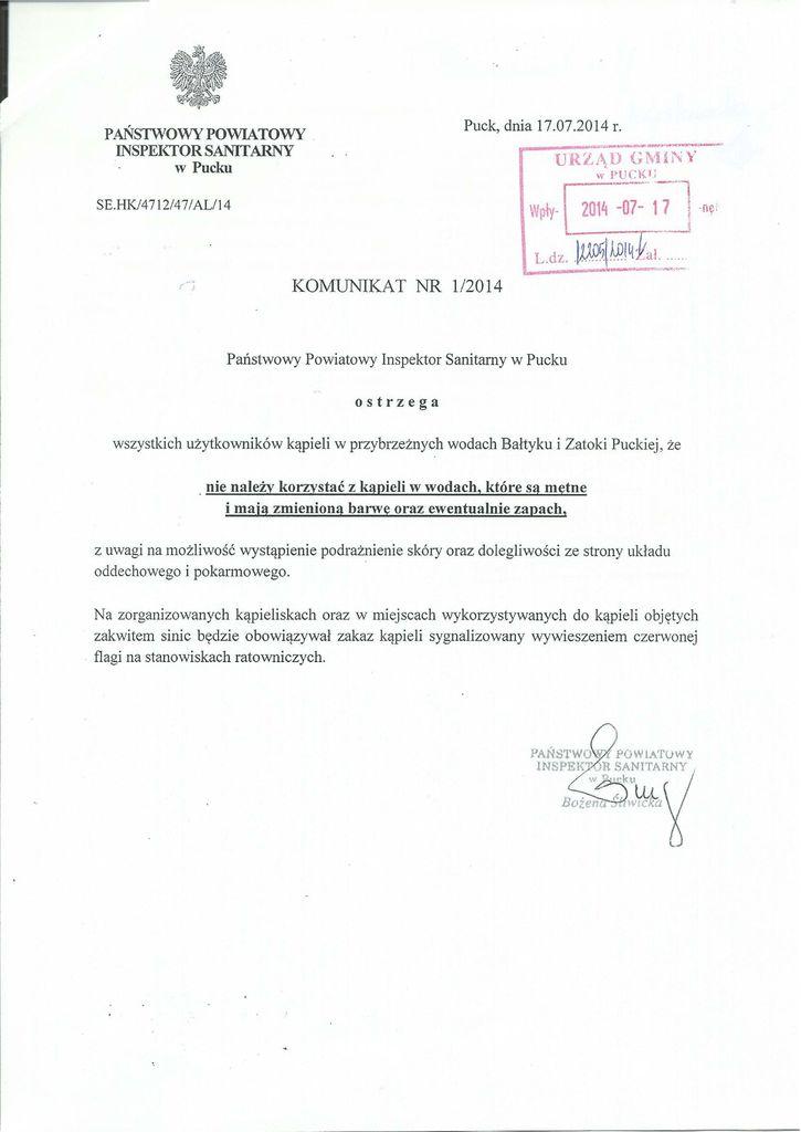 KOMUNIKAT NR 1-2014 PPIS w Pucku_01