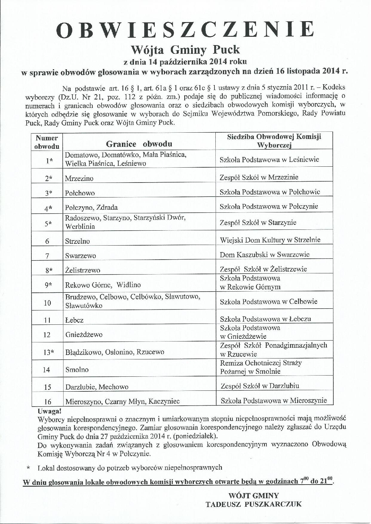 Obwieszczenie Wójta Gminy Puck 14.10.2014 r. obwody głosowania-page-001