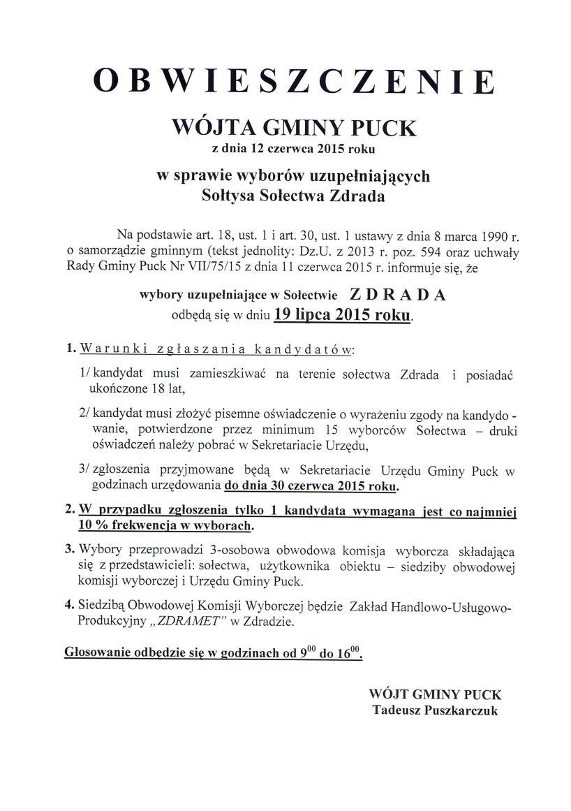 Obwieszczenie WGP z dnia 12.06.2015 r. w sprawie wyborów uzup. na sołtysa_01