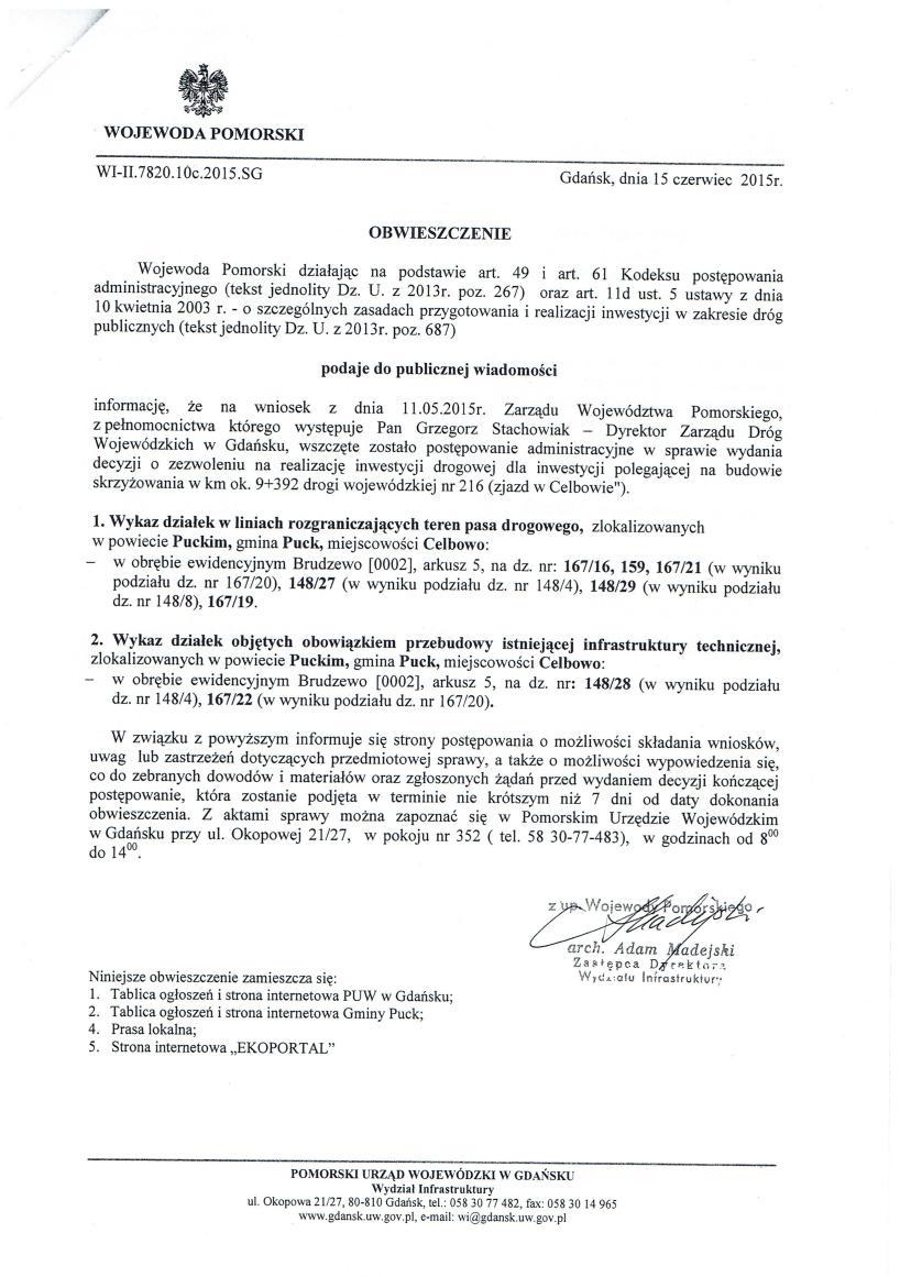 Obwieszczenie - Wojewody Pomorskiego WI-II.7820.10c.2015.SG_01
