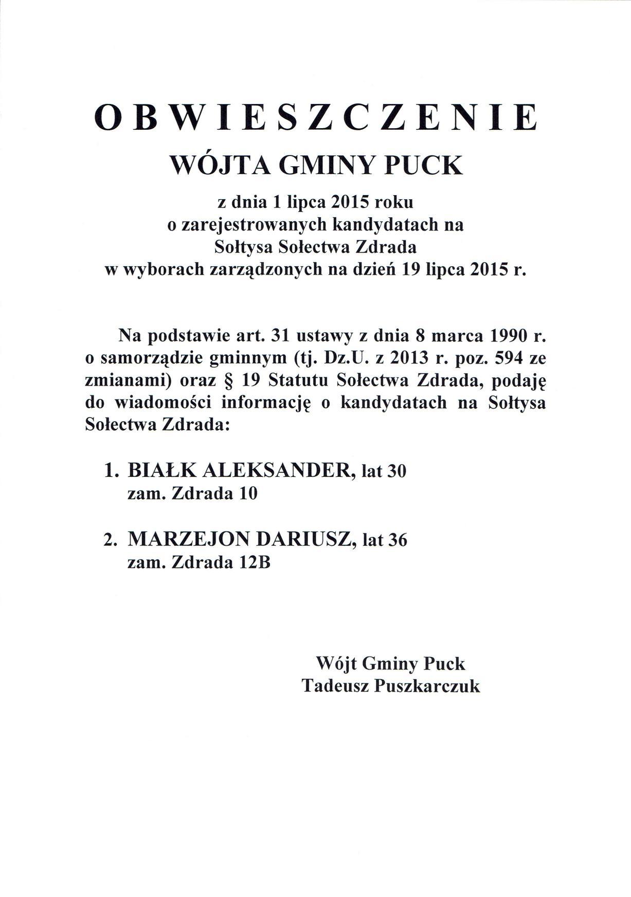 Obwieszczenie Wójta Gminy Puck z dnia 01.07.2015 - Wyb. Sołtysa Wsi Zdrada_02