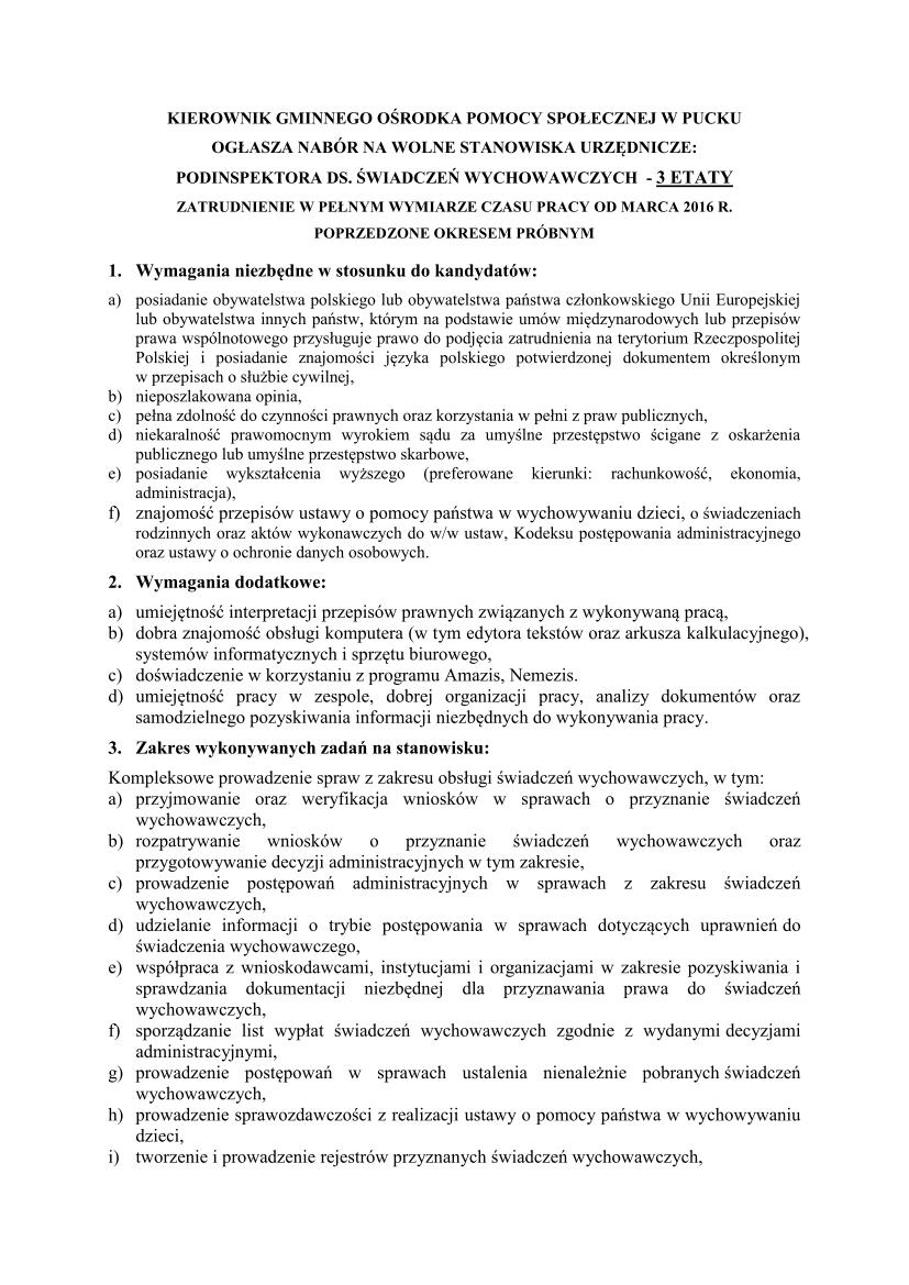 NABÓR NA STANOWISKO Podinsp.-świadczenia wychowawcze_01