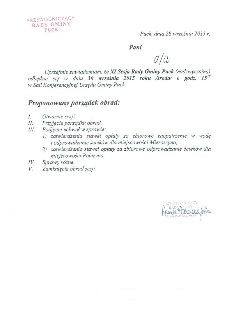 Proponowany porządek obrad XI (nadzwyczajnej) sesji w dniu 30 września 2015 roku_01