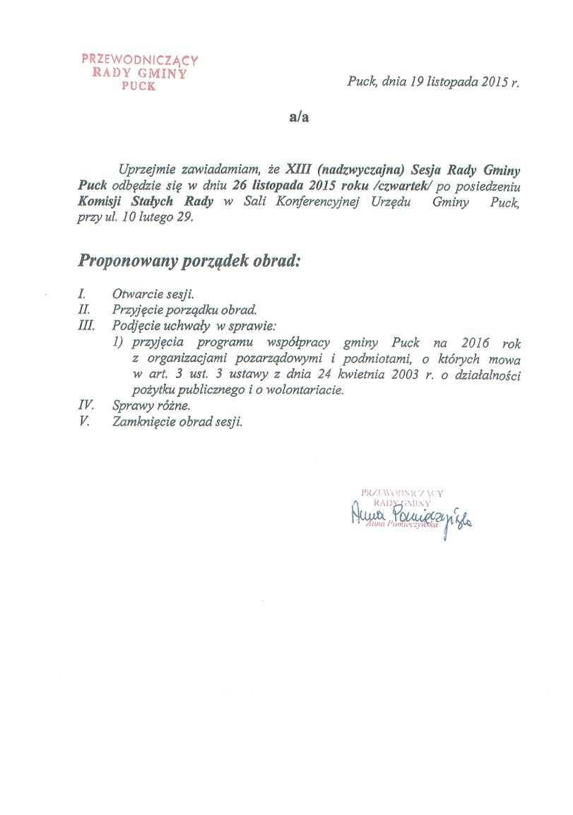 Proponowany porządek obrad XIII (nadzwyczajnej) sesji w dniu 26 listopada 2015 roku_01