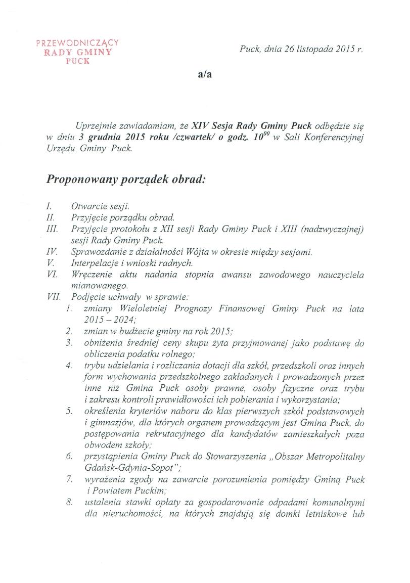 Proponowany porządek obrad XIV  sesji w dniu 3 grudnia 2015 roku_01