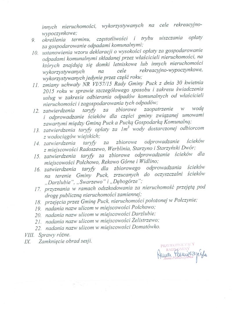 Proponowany porządek obrad XIV  sesji w dniu 3 grudnia 2015 roku_02