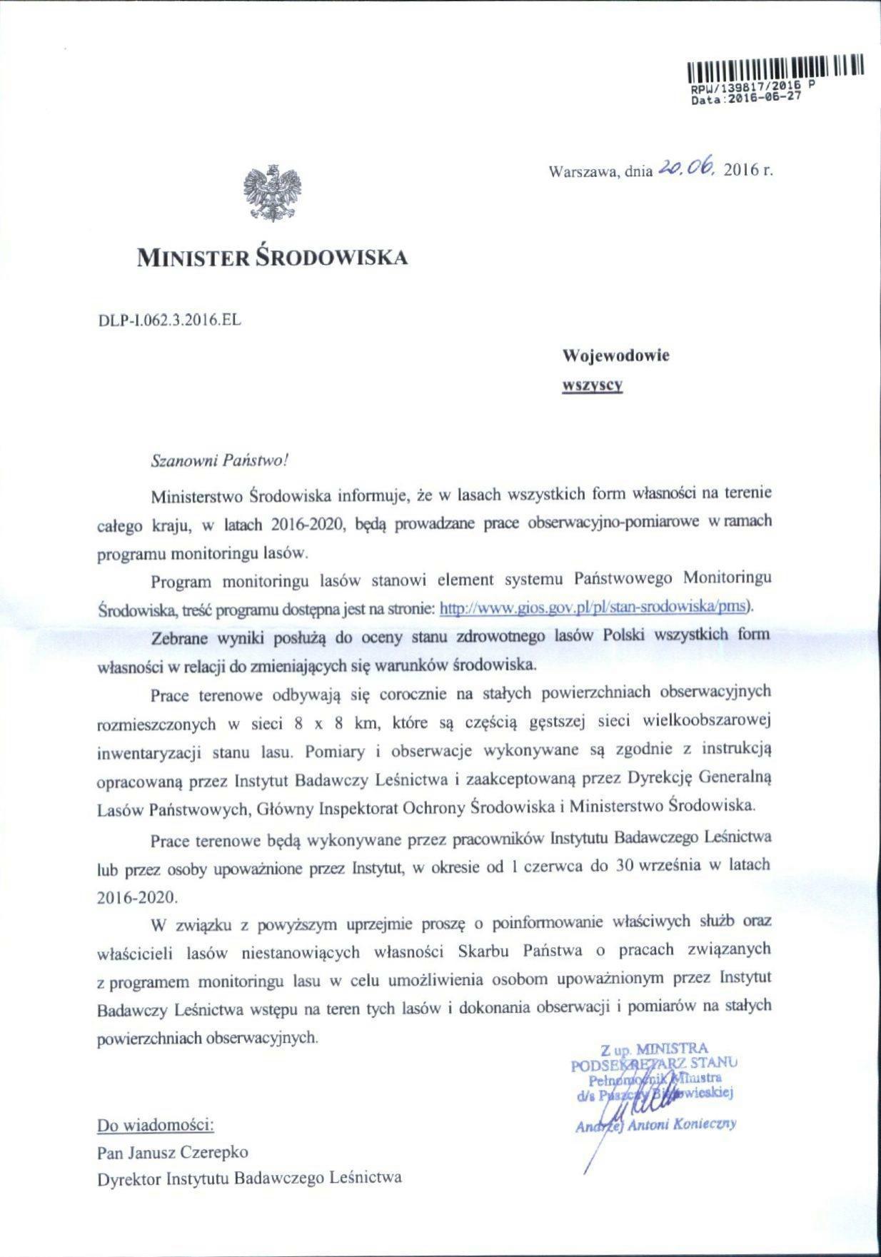Pismo Ministra Środowiska dot. prac obserwacyjno-pomiarowych w ramach programu monitoringu lasów.(2574823_1830982)_01