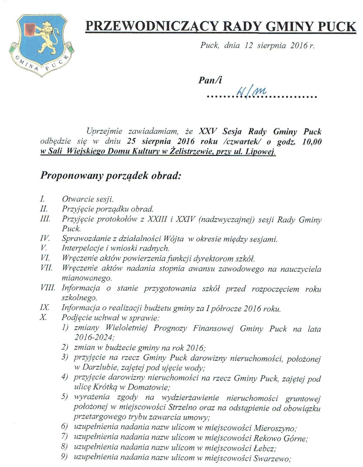 Proponowany porządek obrad XXV Sesji Rady Gminy Puck - dnia 25 sierpnia 2016 r._01