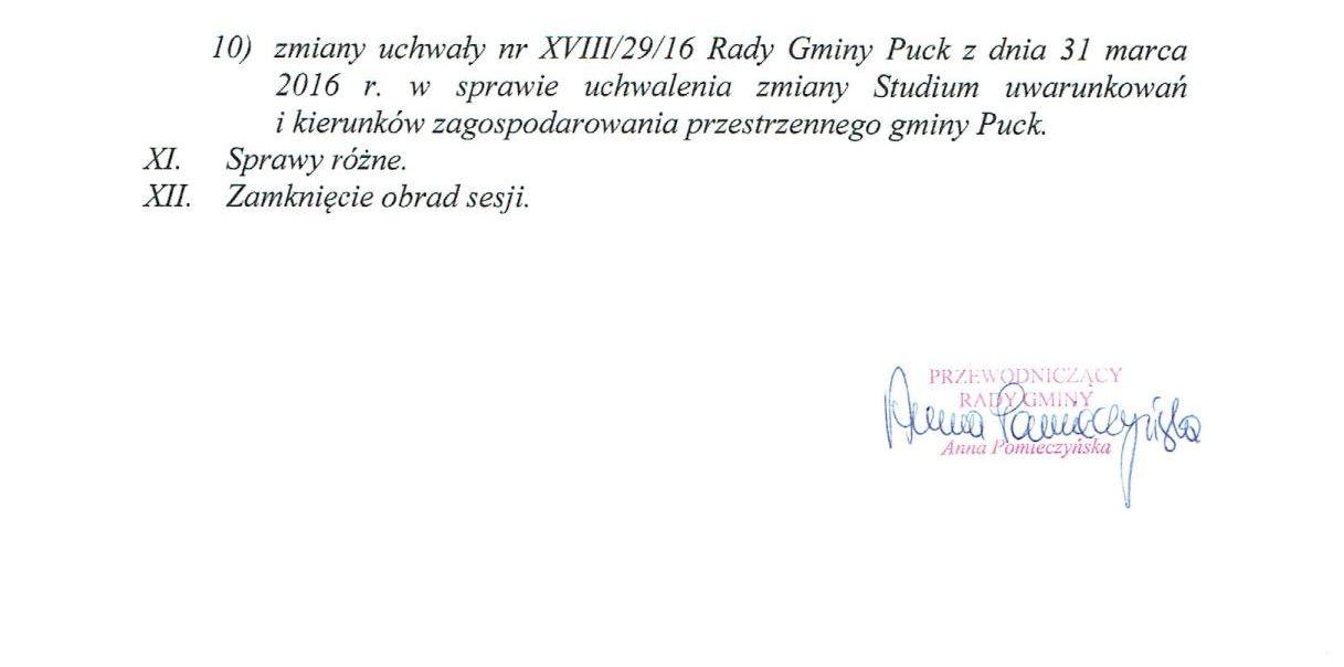Proponowany porządek obrad XXV Sesji Rady Gminy Puck - dnia 25 sierpnia 2016 r._02