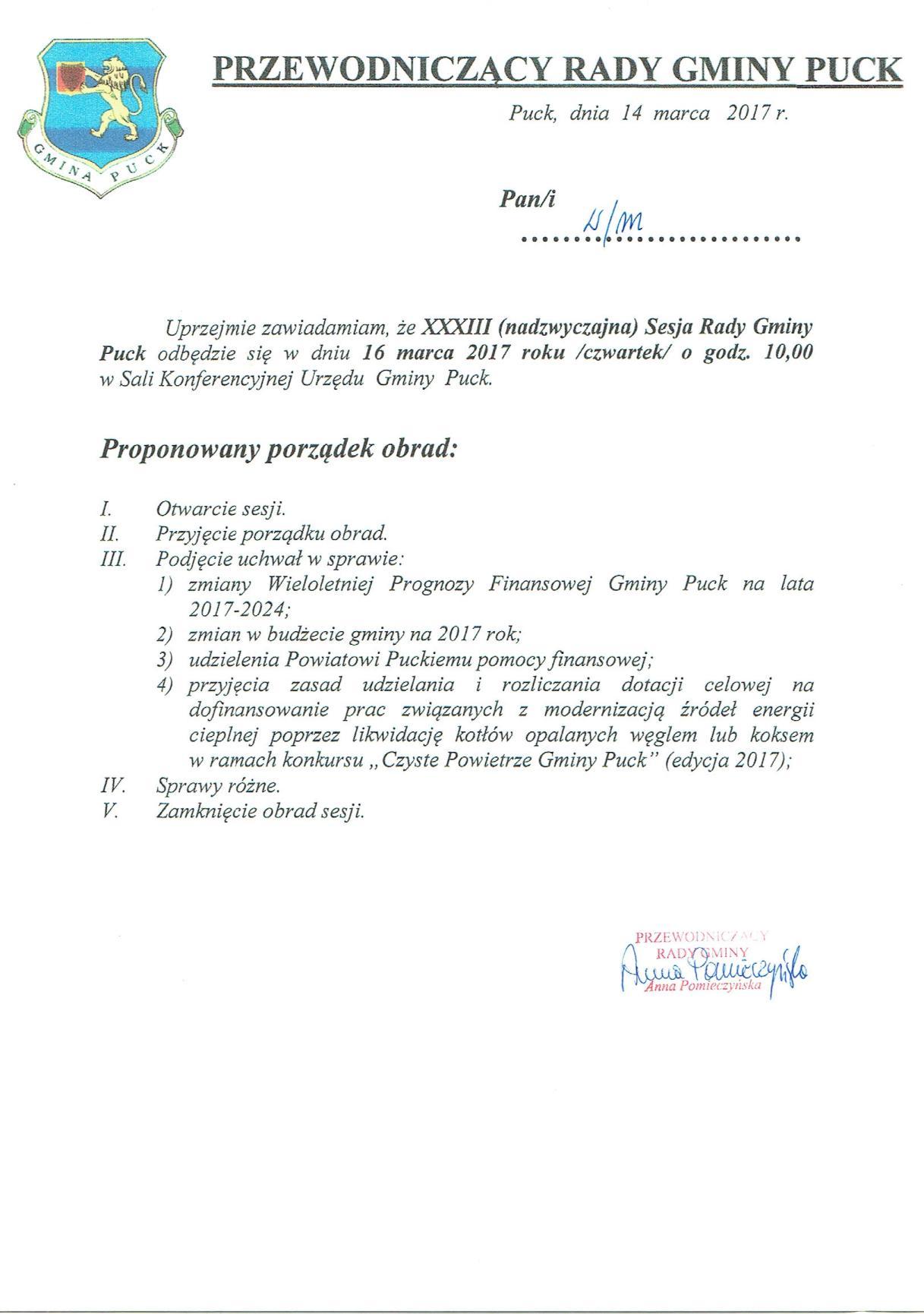 Proponowany porządek obrad XXXIII (nadzwyczajnej) sesji Rady Gminy Puck - dnia 16 marca 2017 roku_01
