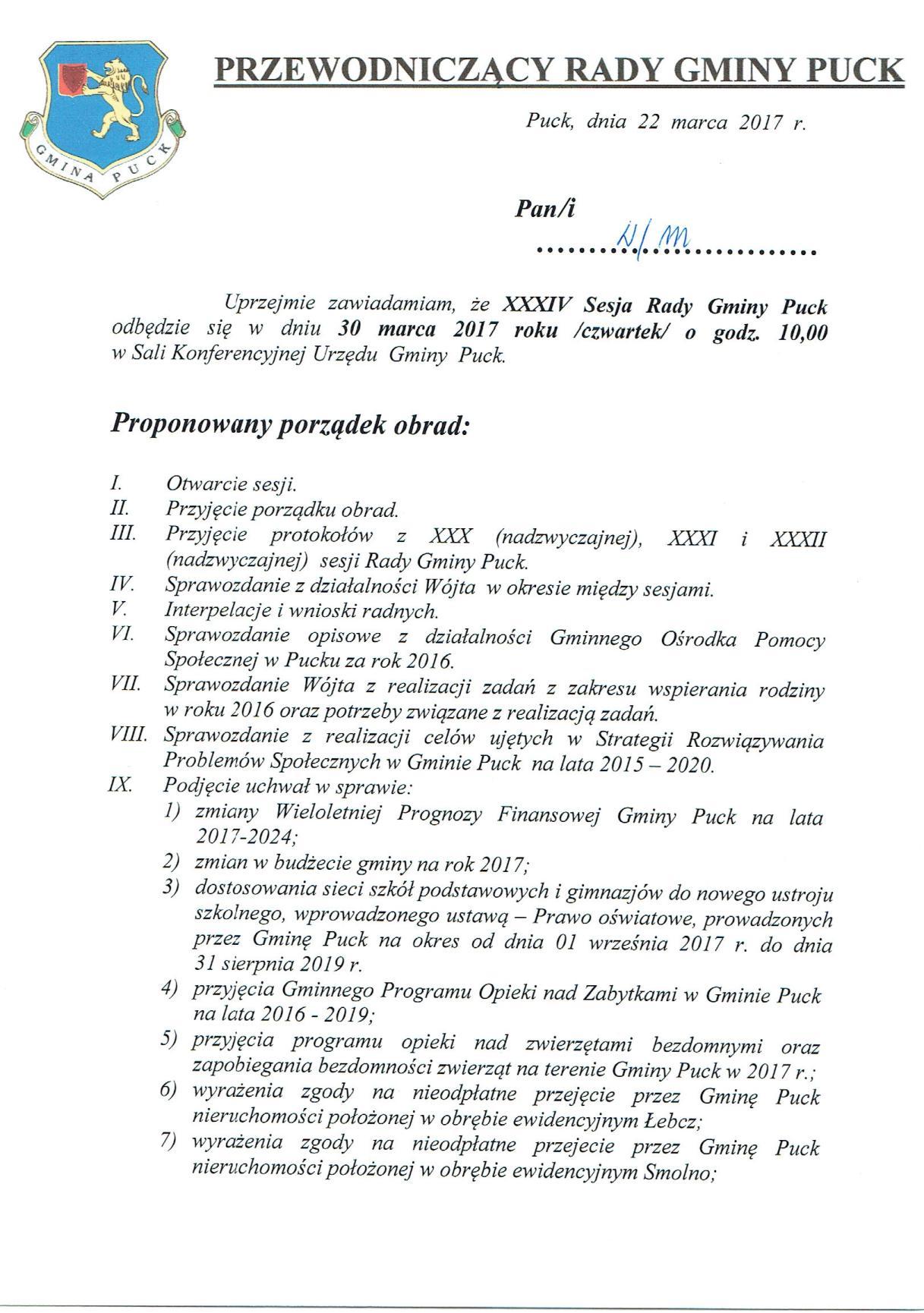 Proponowany porządek obrad XXXIV sesji Rady Gminy Puck - dnia 30 marca 2017 roku_01