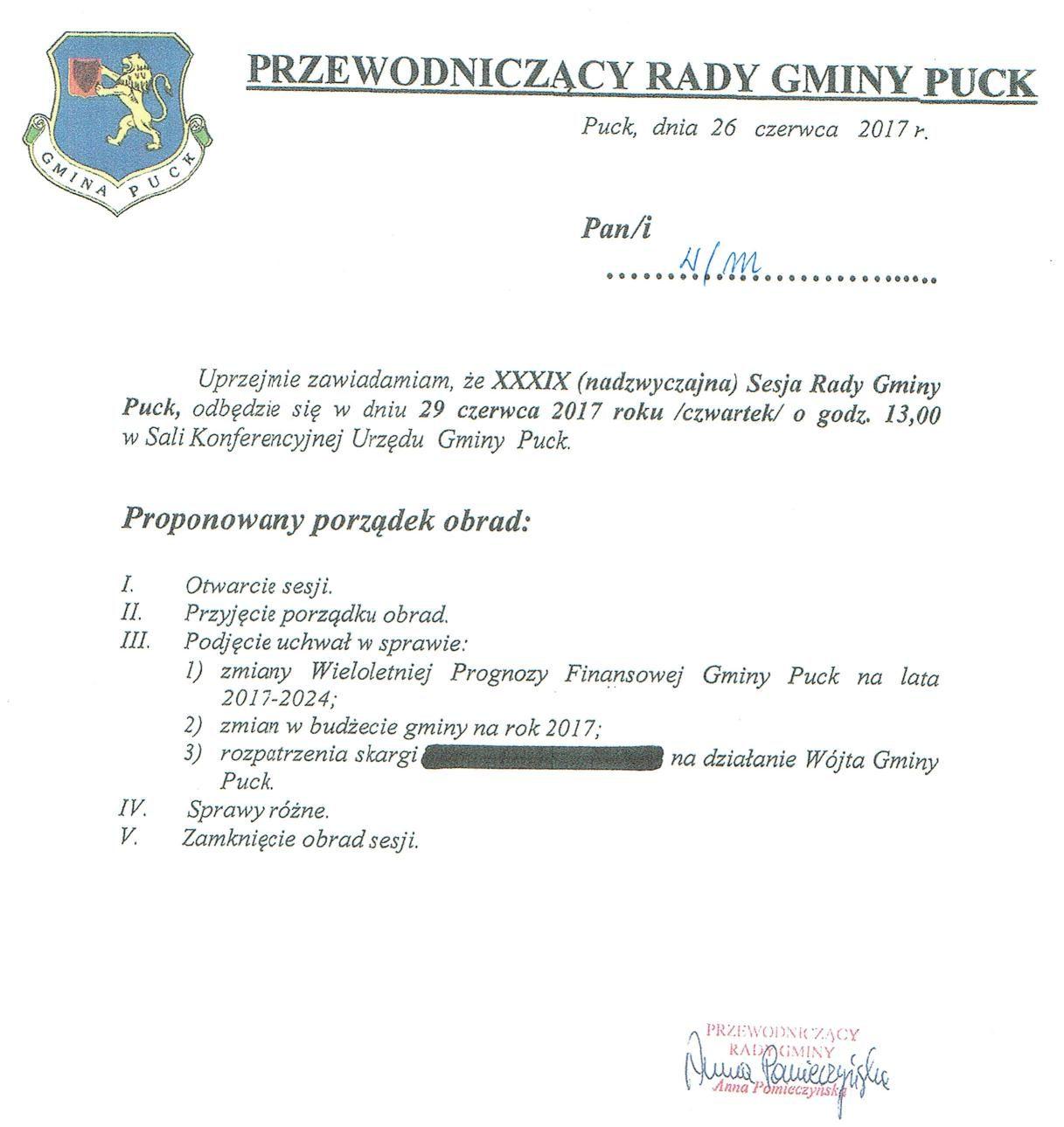 Proponowany porządek obrad XXXIX(nadzwyczajnej) sesji Rady Gminy Puck - dnia 29 czerwca 2017 roku_01