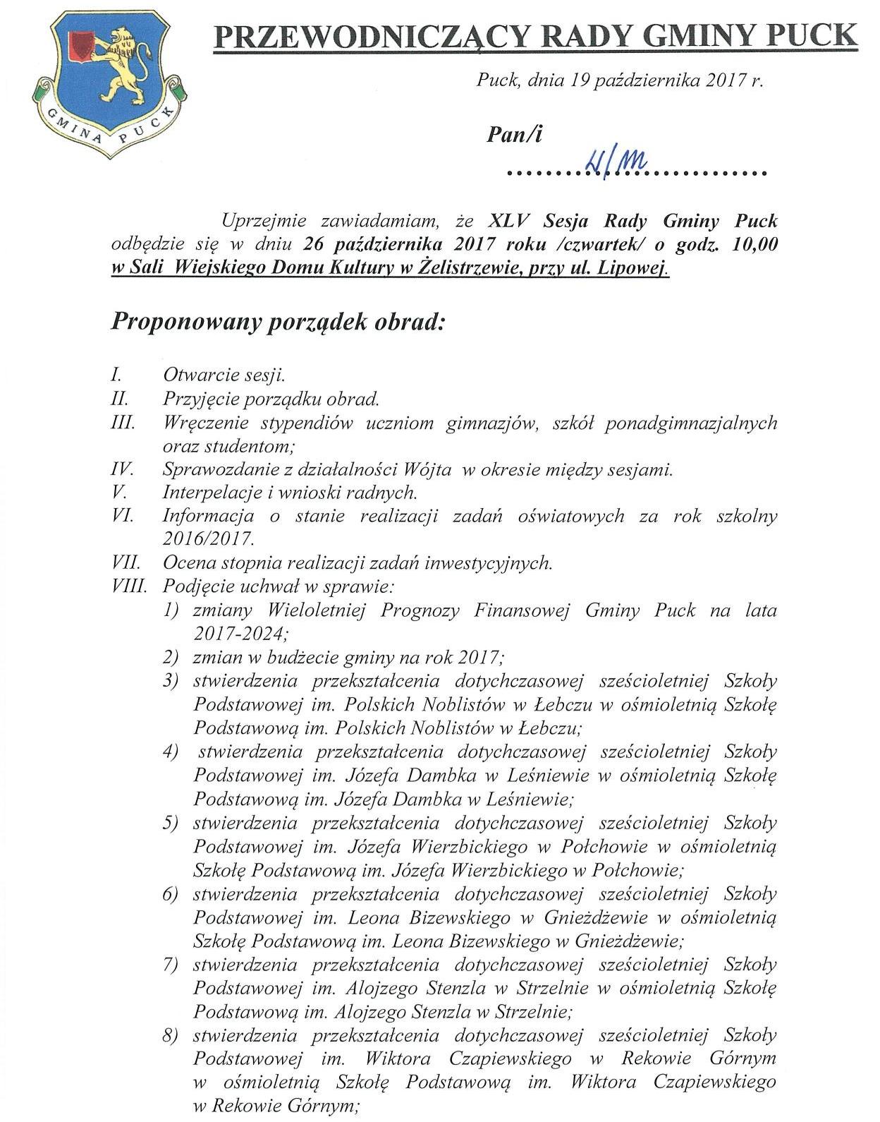 Proponowany porządek obrad XLV sesji Rady Gminy Puck - dnia 26 października 2017 roku_01
