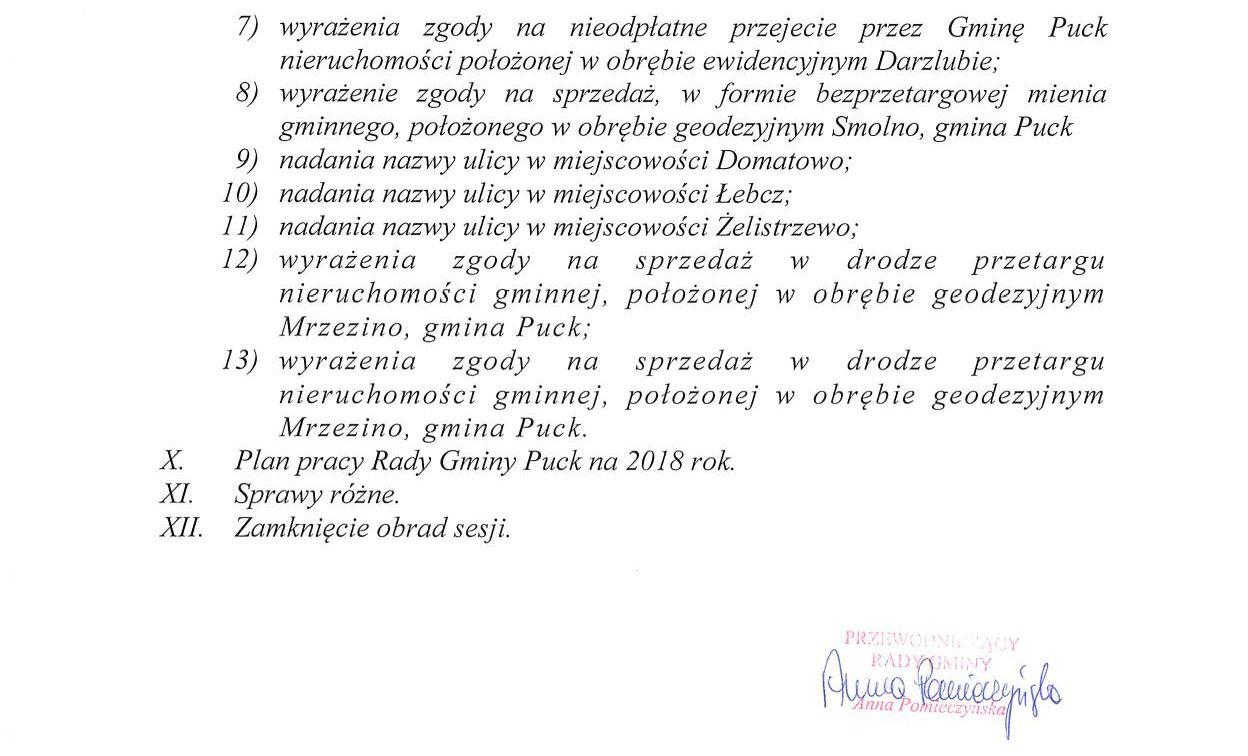 Proponowany porządek obrad XLVII sesji Rady Gminy Puck - dnia 28 grudnia 2017 roku_02