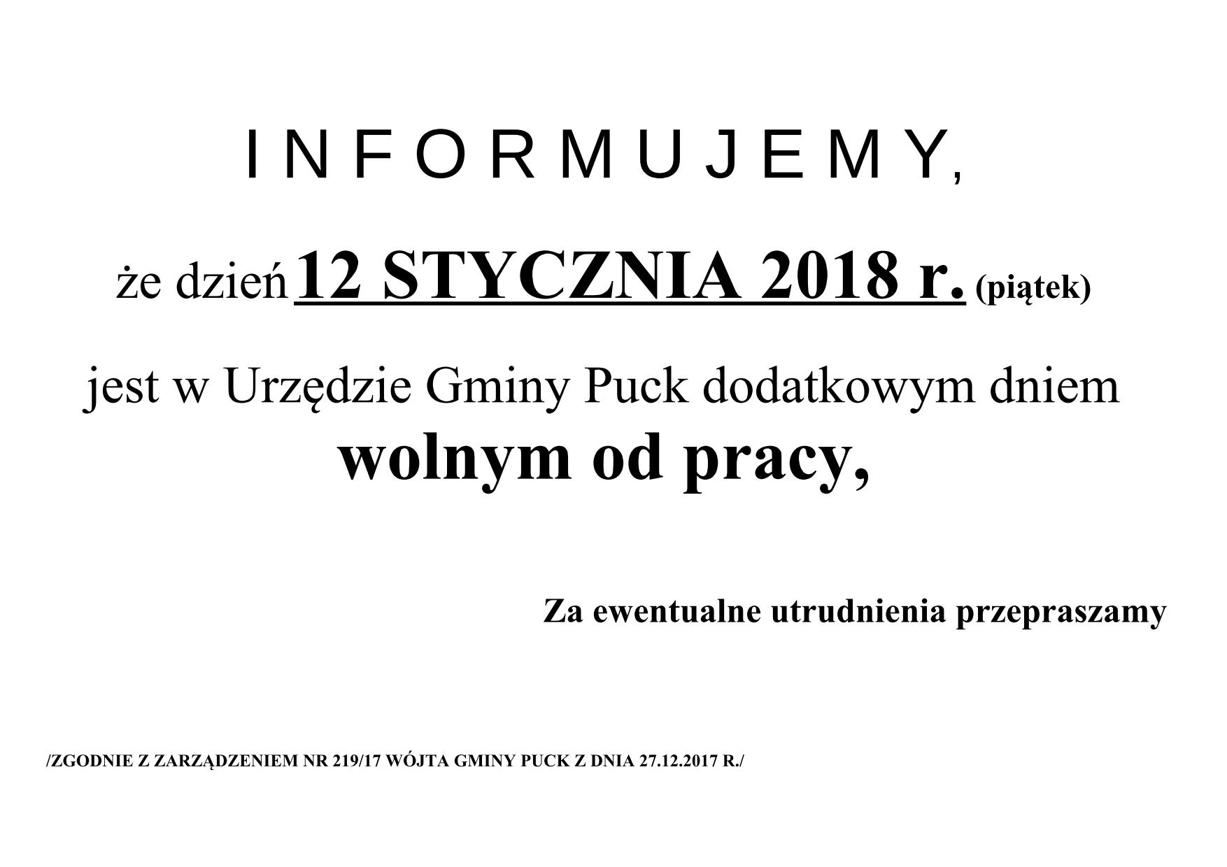 INFORMACJA UG NECZYNNY 12.01.2018_Urząd Gminy Puck informuje_01