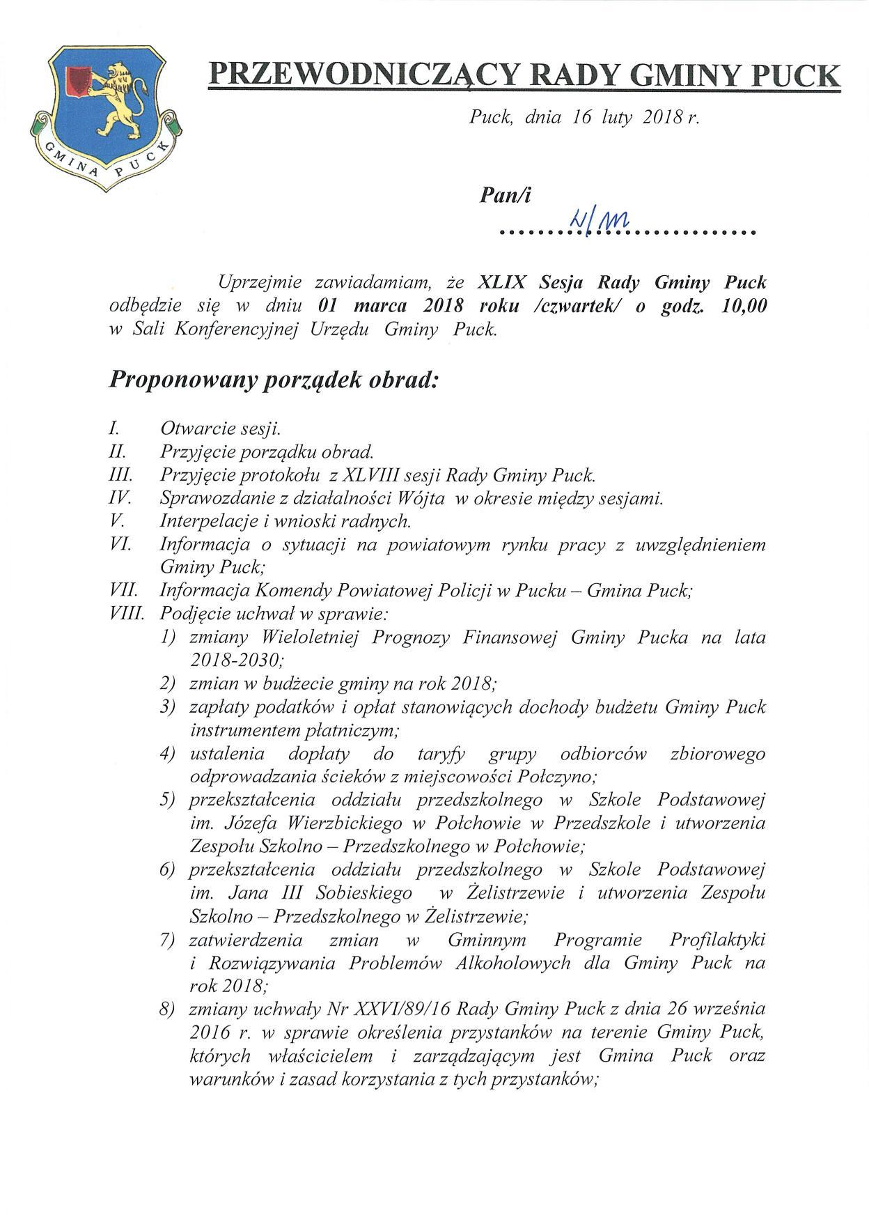 Proponowany porządek obrad XLIX sesji Rady Gminy Puck - dnia 01 marca 2018 roku_01