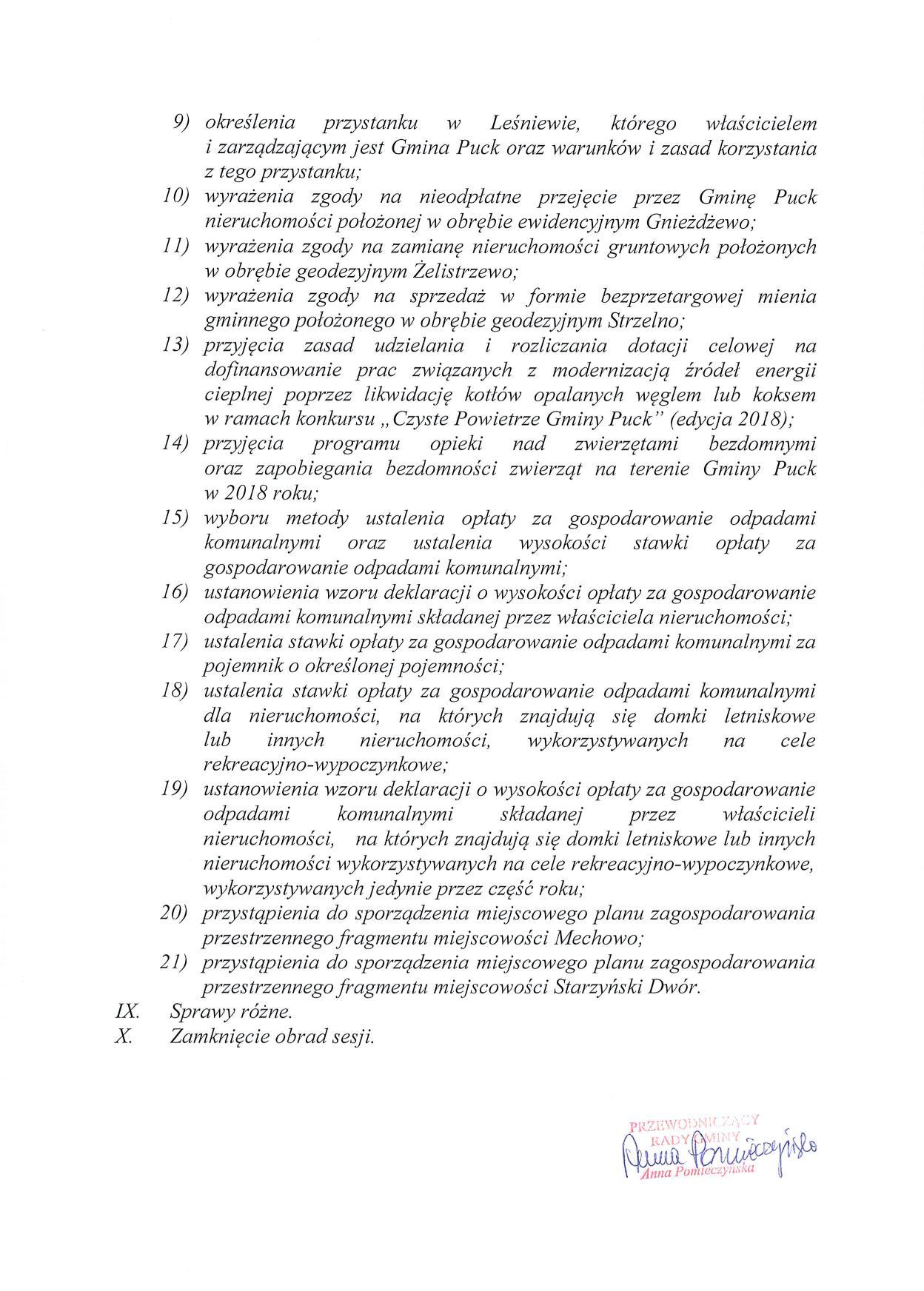 Proponowany porządek obrad XLIX sesji Rady Gminy Puck - dnia 01 marca 2018 roku_02