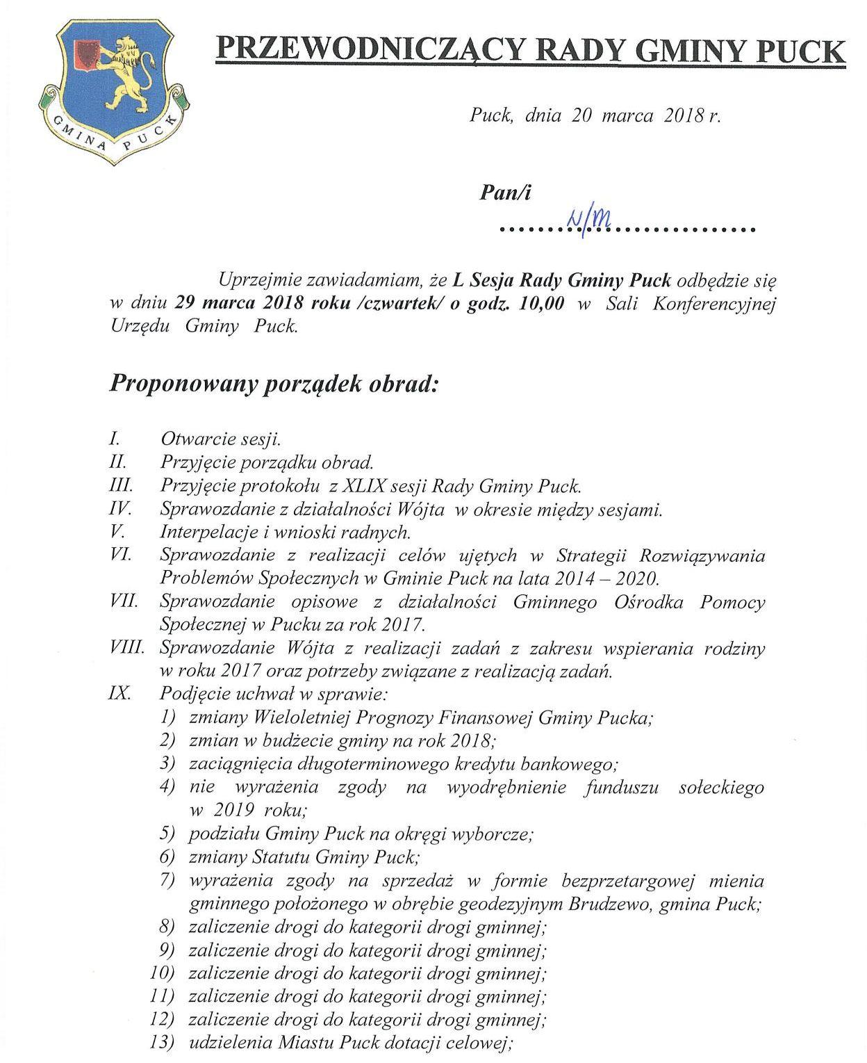 Proponowany porządek obrad L sesji Rady Gminy Puck - dnia 29 marca 2018 roku_01