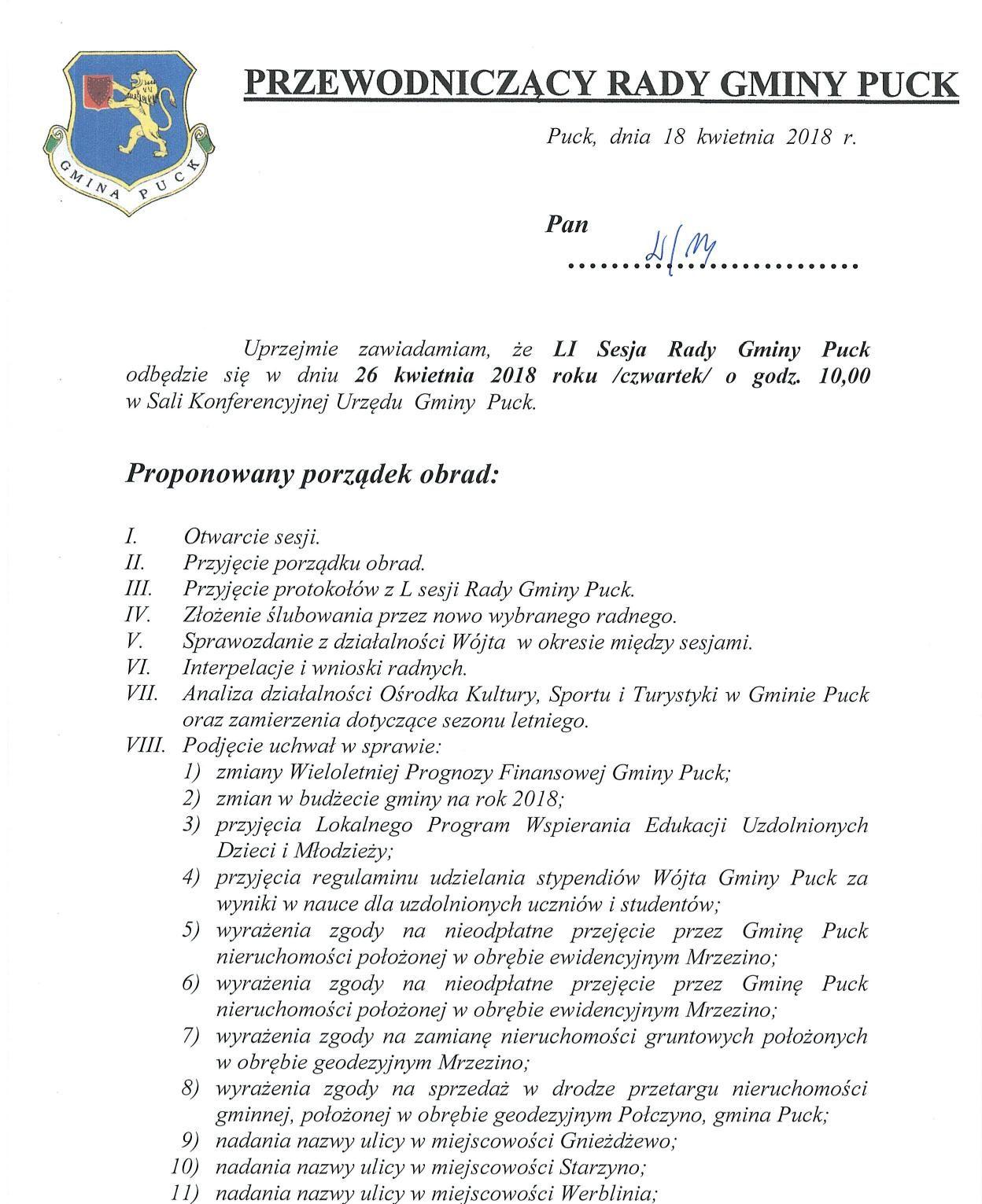 Proponowany porządek obrad LI sesji Rady Gminy Puck - dnia 26 kwietnia 2018 roku_01