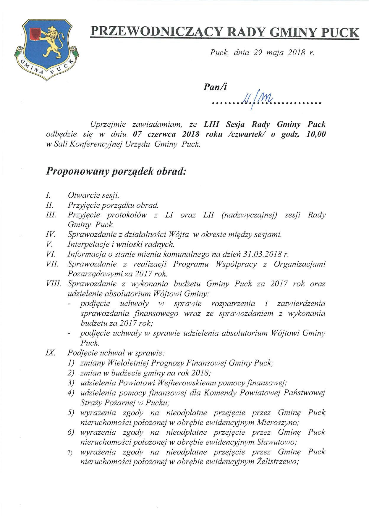 Proponowany porządek obrad LIII sesji Rady Gminy Puck - dnia 07 czerwca 2018 roku_01