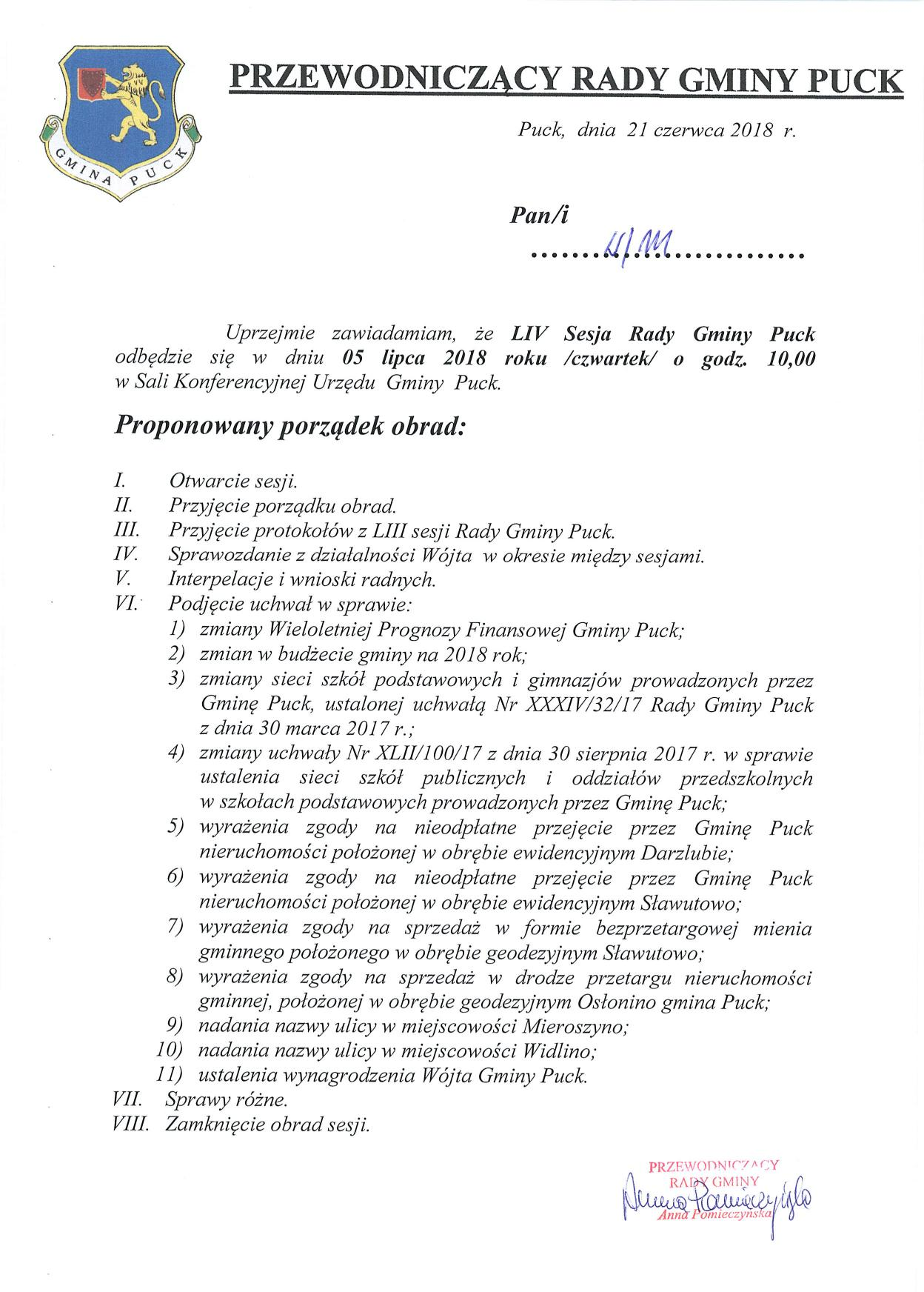 Proponowany porządek obrad LIV sesji Rady Gminy Puck - dnia 05 lipca 2018 roku_01