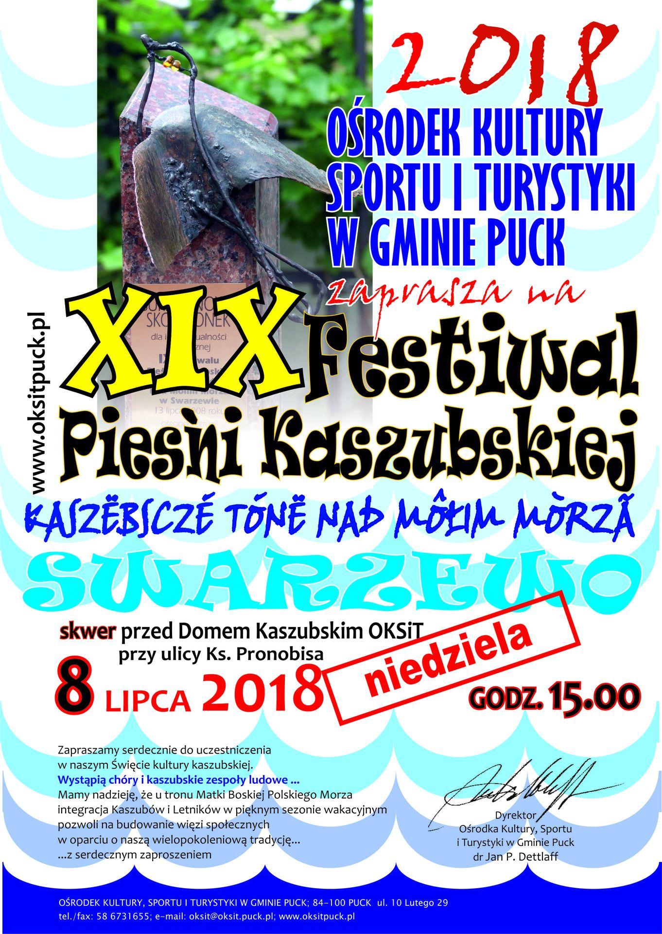 Festiwal Pieśni Kaszubskiej 8 lipca 2018 w Swarzewie