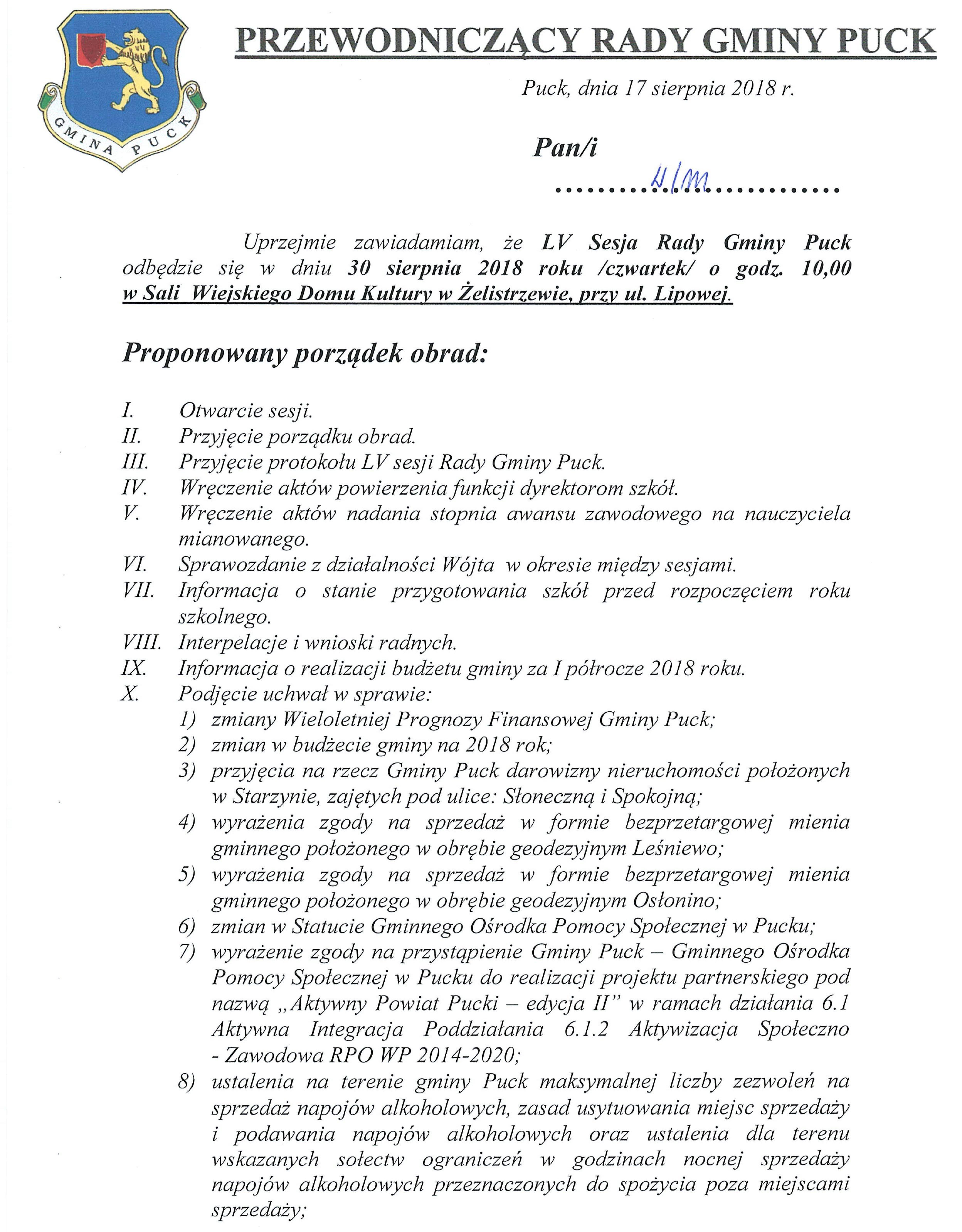 Proponowany porządek obrad LV sesji Rady Gminy Puck w dniu 30 sierpnia 2018 r._01