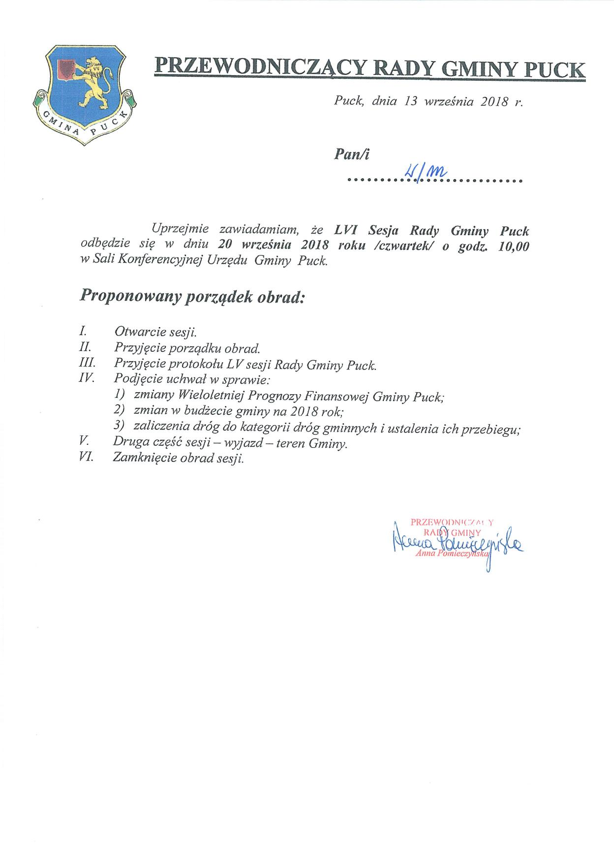 Proponowany porządek obrad LVI sesji Rady Gminy Puck w dniu 20 września 2018 r._01