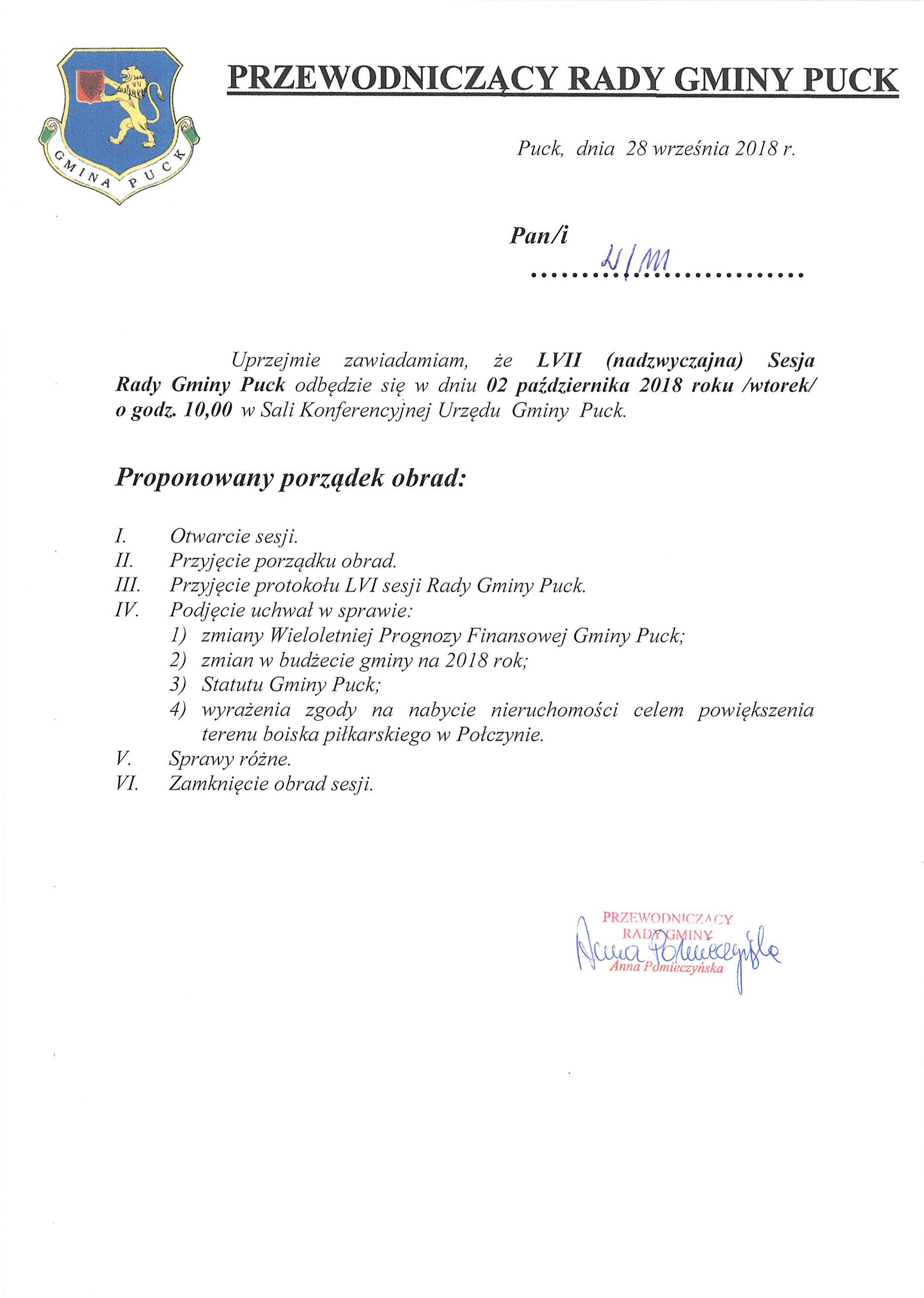 Proponowany porządek obrad LVII sesji Rady Gminy Puck w dniu 02 października 2018 r._02