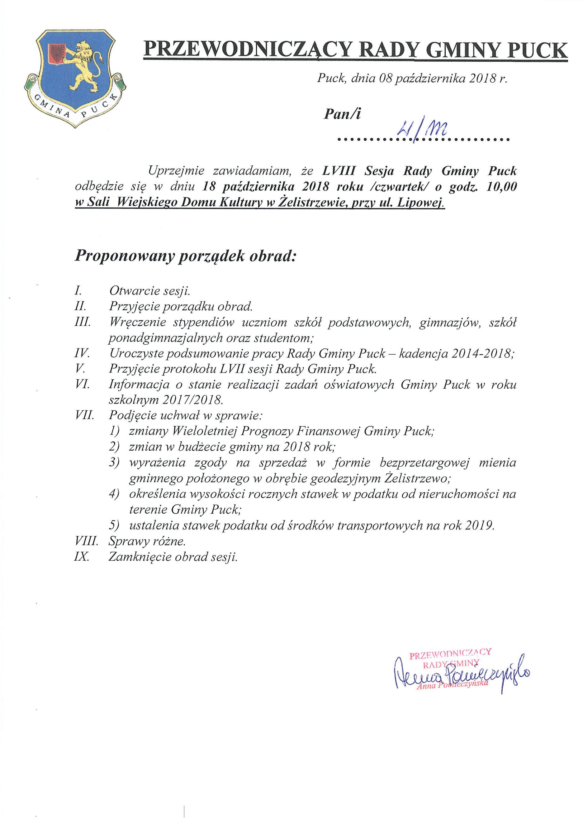 Proponowany porządek obrad LVIII sesji Rady Gminy Puck w dniu 18 października 2018 r._01