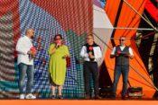 Marcin Kusy Hanna Pruchniewska - Burmistrz Miasta Puck; Andrzej Rogoyski Prezes Poslkiego Radia Piotr Metz Lato z Radiem Festiwal 2019 Puck