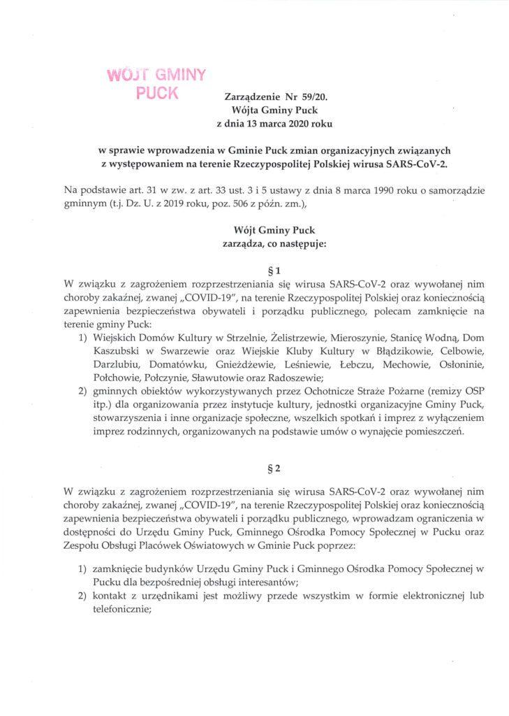 Zarządzenie Nr 59.20 Wójta Gminy Puck z dnia 13 marca 2020 roku-1